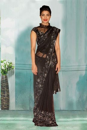 Bollywood Inspired - Party Wear Black Net Saree  - 80750