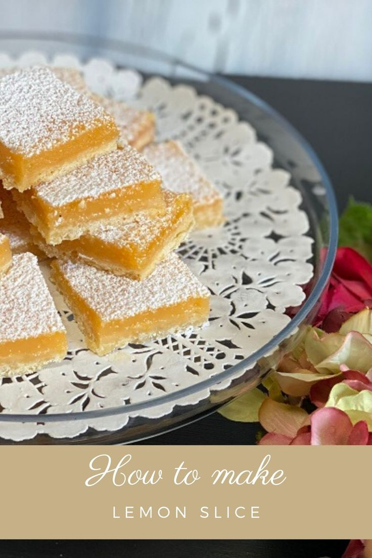 Sweet tangy lemon slice or squares. If you love lemon these couldn't be easier to make and they're so delicious. Thermom…