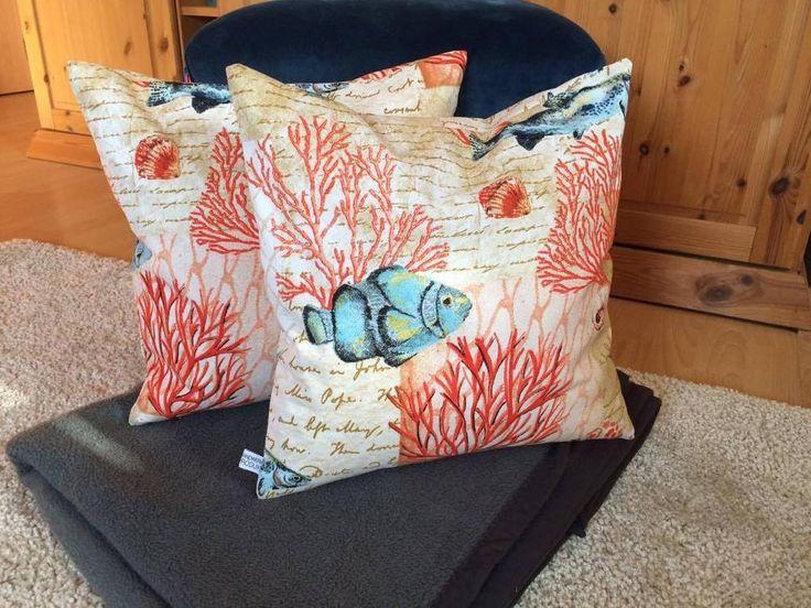 Kissenbezug 40x40 creme orange blau Maritim, Fische Kissenhülle ohne Kissen | eBay