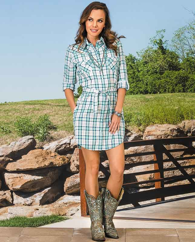 """Rough Stock Turquoise & White Plaid Shirt Dress - Western Dresses & Skirts - Women's Casual Outfits for women #countrygirl #CountryFashion #countryoutfit drysdales.com  """"gifts for cowgirls"""" """"gifts for ladies"""" """"gifts for women"""" """"casual clothing"""" for ladies"""