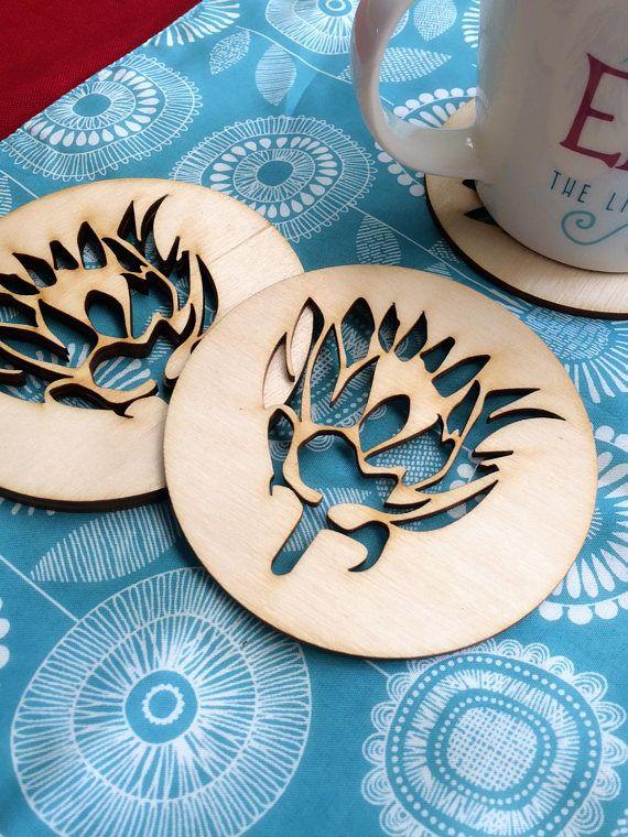 Coasters Flower Coasters Protea Protea Coasters Wooden