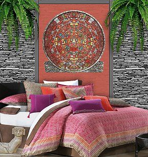 A Vibrant Colorful Bedding Collection With South American Influences In Hues Of Orange Red Purple And Chocolate Brown The Echo Mayan