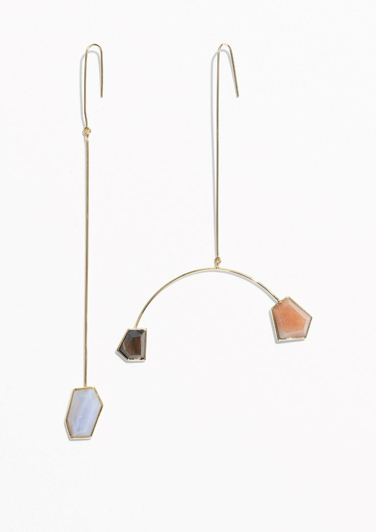 Asymmetric Stone Earrings - Blue - & Other Stories