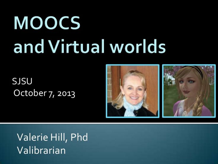"Valerie Hill, an adjunct instructor at Texas Woman's University School of Library and Information Science and a LSD school librarian, gives a presentation in SecondLife for the San Jose State University School of Library and Information Science's Virtual Center for Archives & Records Administration (VCARA): ""MOOCs and Virtual Worlds"""