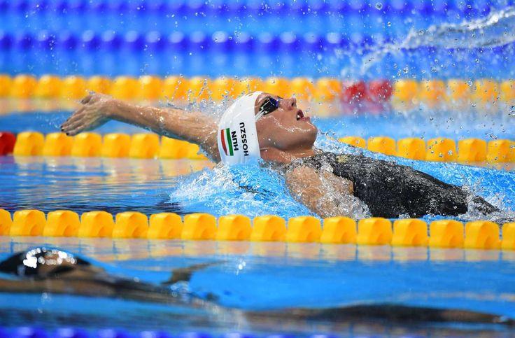 Katinka Hosszu (HUN) during the women's 100m backstroke heats. - Christopher Hanewinckel, USA TODAY Sports