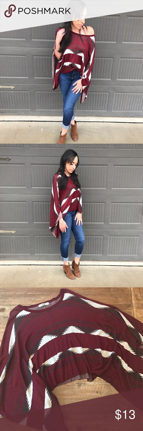 MINT boutique batwing top Gorgeous! Worn twice. Like new. Aztec print. Beautiful comfortable flow. Deep Red, Cream, Brown MINT Tops