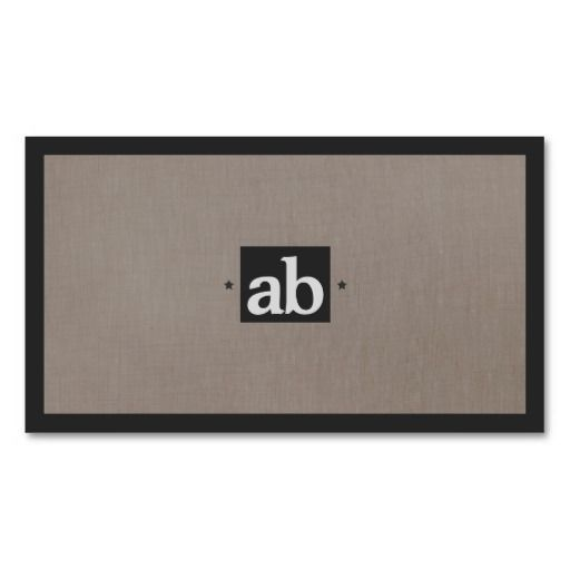 Superb Simple Classic Taupe Faux Linen Monogram Modern Business Cards