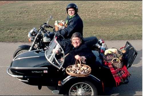 My favorite cooking show! Two Fat Ladies: Clarissa Dickson Wright and the late, Jennifer Paterson on their famous motorbike.