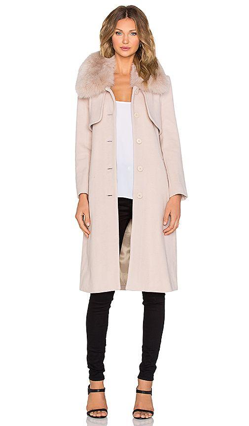 Halston Heritage Fox Fur Collar Coat in Buff | REVOLVE