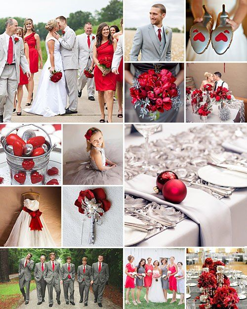 The Red Grey And Silver Colour Theme Is Ideal For A Really Elegant Wedding Special Treat Friends Family
