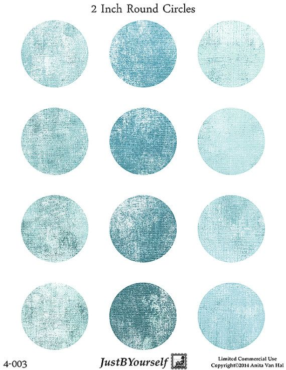 Teal Instant Download Printable Two 2 inch by JustBYourself (Craft Supplies & Tools, Scrapbooking Supplies, Scrapbooking Clip Art, digital collage, collage sheet, printable PDF, collage PDF, instant download, mixed media supplies, craft supplies, printable labels, 2 inch circles, distressed circles, circle collage sheet, teal, commercial use)
