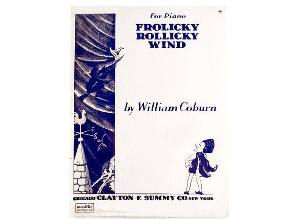 Early Halloween Witch Sheet Music Frolicky Rollicky Wind Coburn, William Clayton F Summy Witch Riding Broom Old Halloween Song by CollectionSelection on Etsy