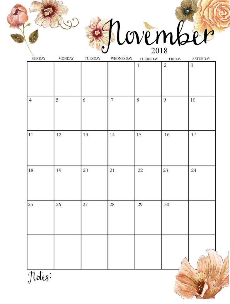 2018 Printable Monthly November Calendar