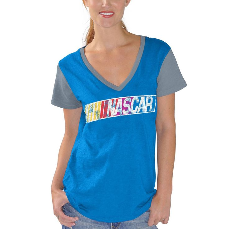 Women's NASCAR Merchandise G-III 4Her by Carl Banks Royal Fair Catch V-Neck T-Shirt