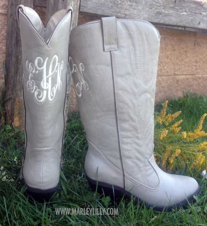 224 Monogrammed Stone Cowboy Boots Full Details Http