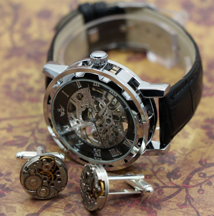 Mens Ultimate Steampunk Package,  Mans Watch and Handmade movement cufflinks / cuff links what a package or gift. by SchimmelsShop on Etsy https://www.etsy.com/listing/130717634/mens-ultimate-steampunk-package-mans