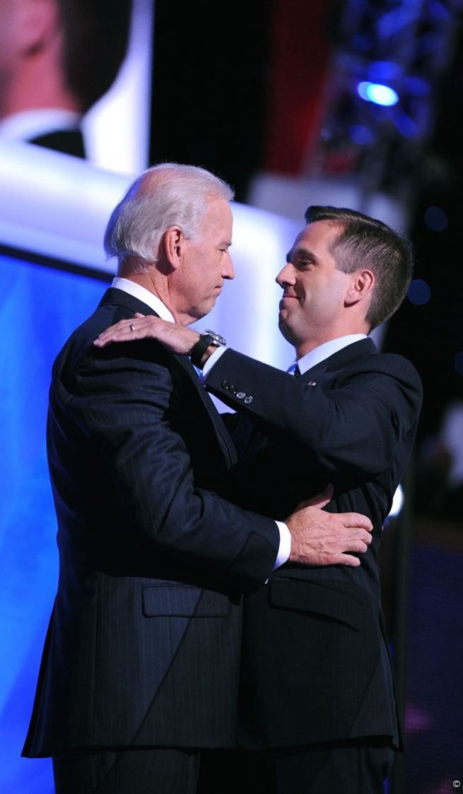 Joe Biden and his son, Beau Biden. RIP Beau. beau was a attorney, a officer in the Judge Advocate General's Corp (JAG) and a politician from Wilmington Delaware.  He died May 30, 2015 from Brain Cancer.  Truly he will be missed.