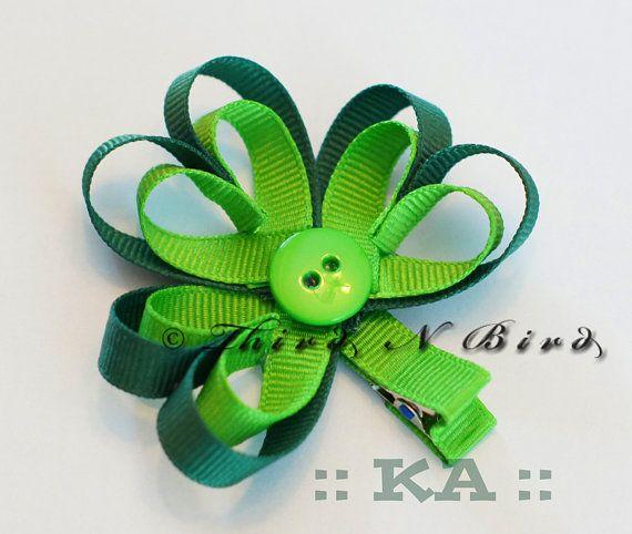 Shamrock Clover St Patrick's Day Hair Clip Ribbon by ThirdNBird, $4.00