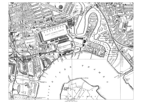 Old map of East India Docks, Poplar, Blackwell, London in 1888oldtowns.co.uk