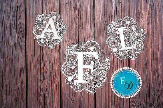 Monogram papier snijden sjabloon, alfabet papercut Papercut sjabloon, brief papercut, Banner papercut, A-M, papier snijden monogram