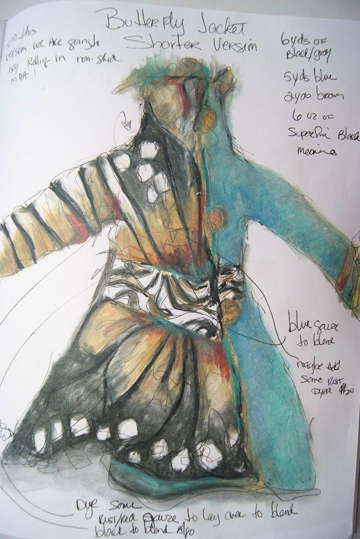 Jean Gauger sketch for butterfly jacket