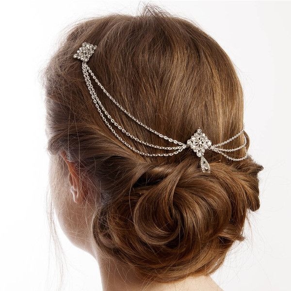 Rose Red Accessories Silver Bridal Hair Chain Headpiece With Drapes ($94) ❤ liked on Polyvore featuring jewelry, brooches, hair, bridal jewelry, chains jewelry, red rose brooch, rose jewelry and silver brooch
