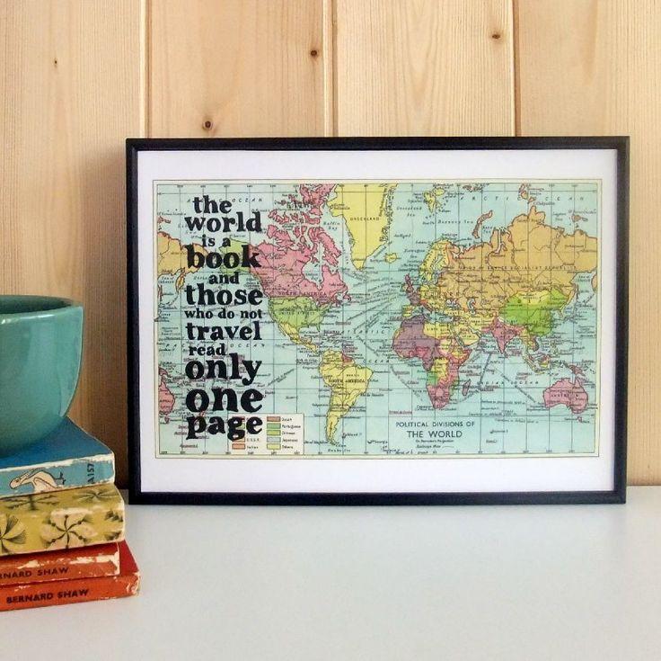 Plakát v dřevěném rámu World Is A Book Map Print | Bonami
