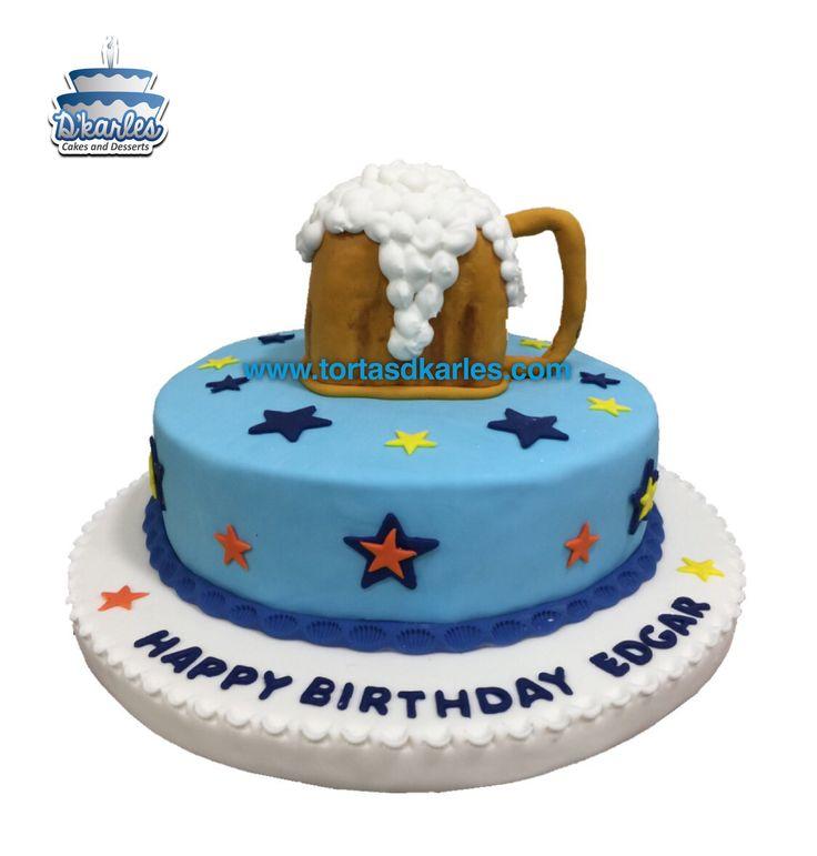 Linda torta que representa un vaso shop de cerveza, ideal para celebrar a papá en su día, un buen amigo o compañero, puedes trabajar el shop como una maqueta y trabajar el queque de tu preferencia.