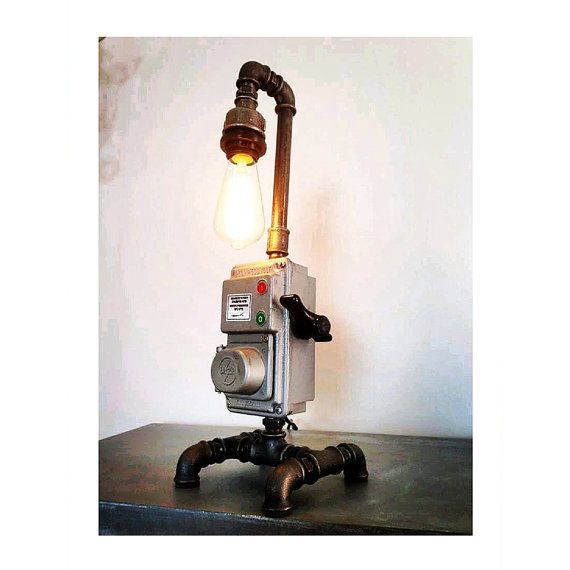 Pipe style Edison Bulb industrial table lamp by HandMadeProjects4u