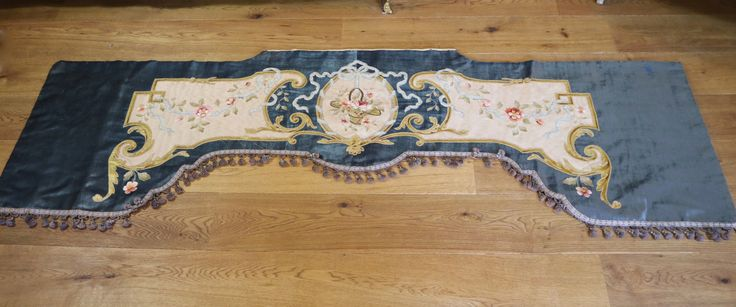 Antique French Pelmet Velvet Valance Silk Embroidered Flowers Ribbon Work | eBay
