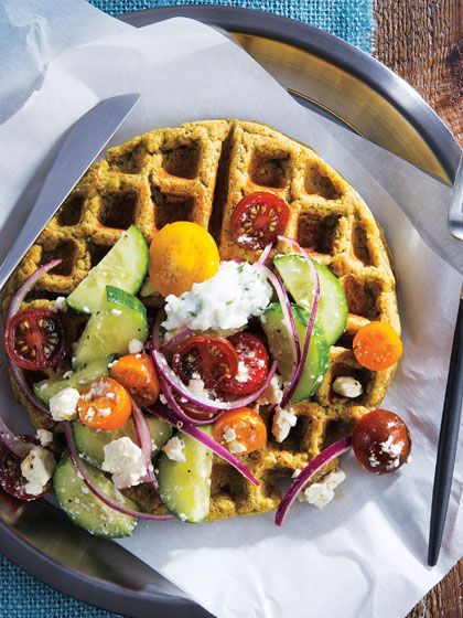 Falafel waffles  Made 3/6/17 Yummy.  Will make again and next time I will make a tahini dressing to go over the top.