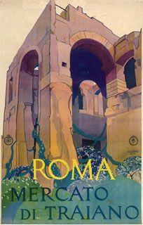 """""""Roma Mercato di Triano"""" Vittorio Grassi - 1925  Italian Travel Poster"""