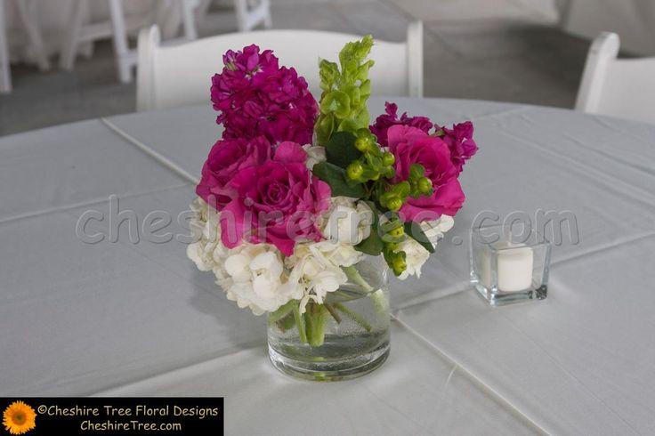 Table Arrangement Glass Vase Hydrangea Roses Hypericum