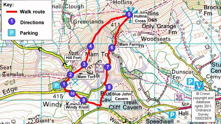Map route for Mam Tor circular walk