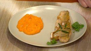 Zubáč na masle a cesnaku s pyré z batatov