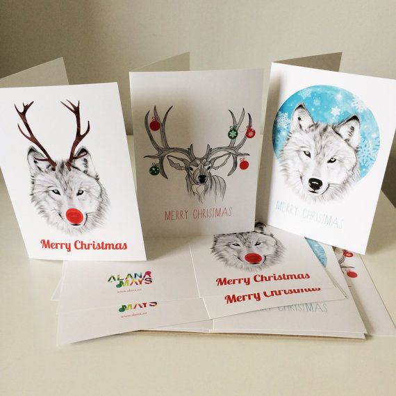 x6 Custom made christmas cards inc 3 designs with envelopes by AlanaMaysCreations on Etsy, $3.50 each or x6 for $18, wolf, deer, rudolph, pencil, animal sketches, christmas cards, festive, staionary cards