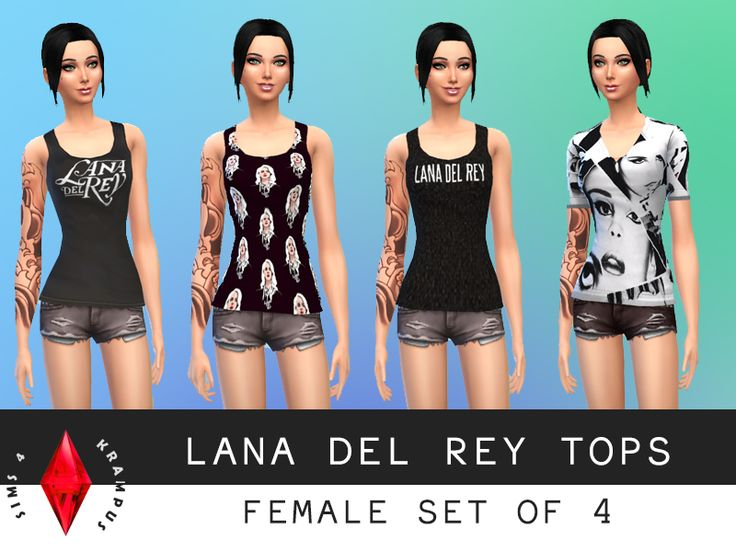 The Sims 4 female set of 4 Lana Del Rey tops  This    Custom Content. 959 best Sims 4 cc images on Pinterest   Sims cc  The sims and