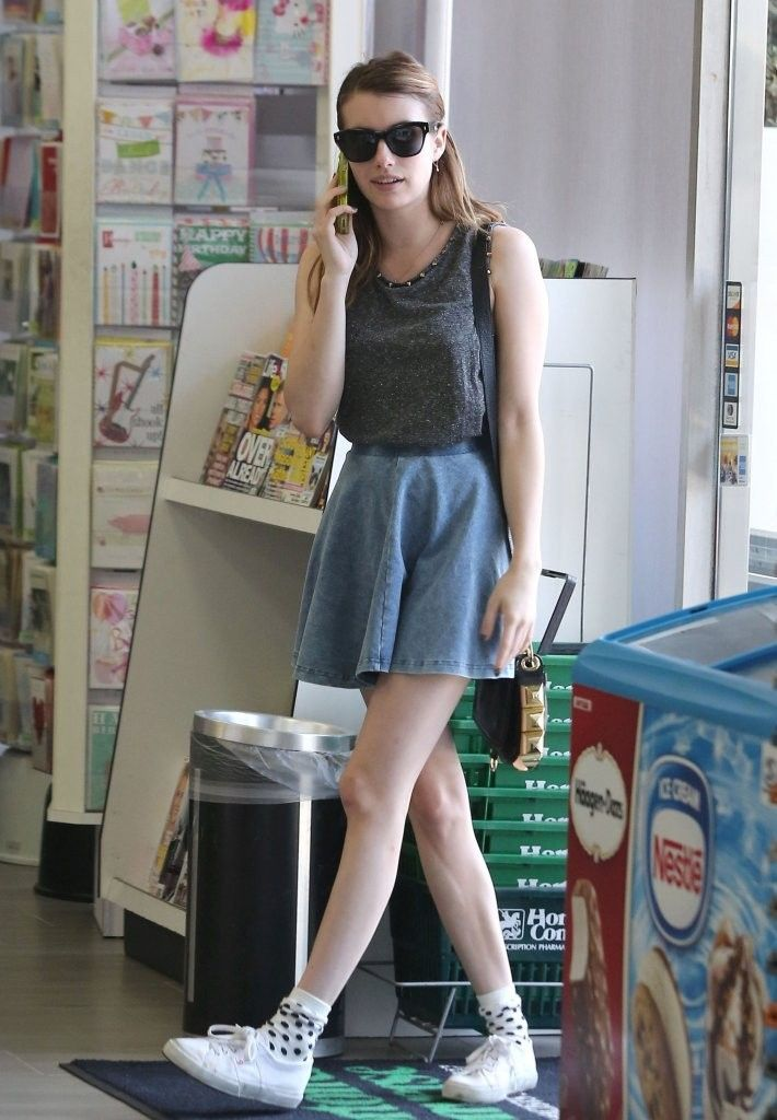 Emma Roberts in a Topshop Denim Skater Skirt