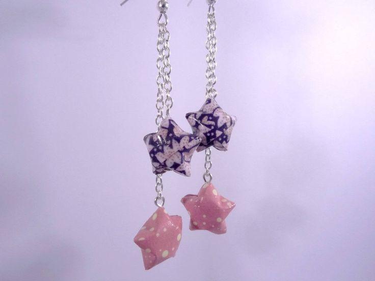 Boucles Origami Duo Céleste violet et rose avec pois et fleurs de la boutique LinePerles sur Etsy