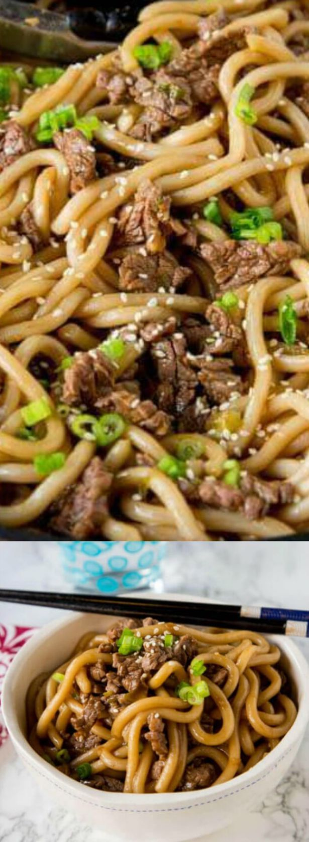 These Garlic Beef Noodle Bowls are a flavorful and delicious dinner for the whole family! They come together in 15 minutes making them perfect for busy nights!