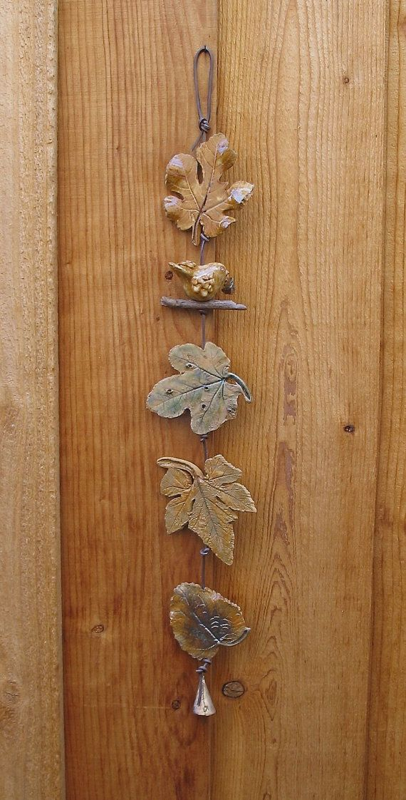 5 Ceramic Leaves Wall Hanging with Bird, Made with Real Leaves, by SallysClay, $28.00