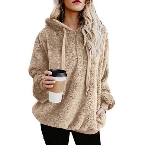 UUANG Womens Long Sleeve Hooded Fleece Sweatshirt Warm Fuzzy Pullover Outwear with Pockets S-XXL