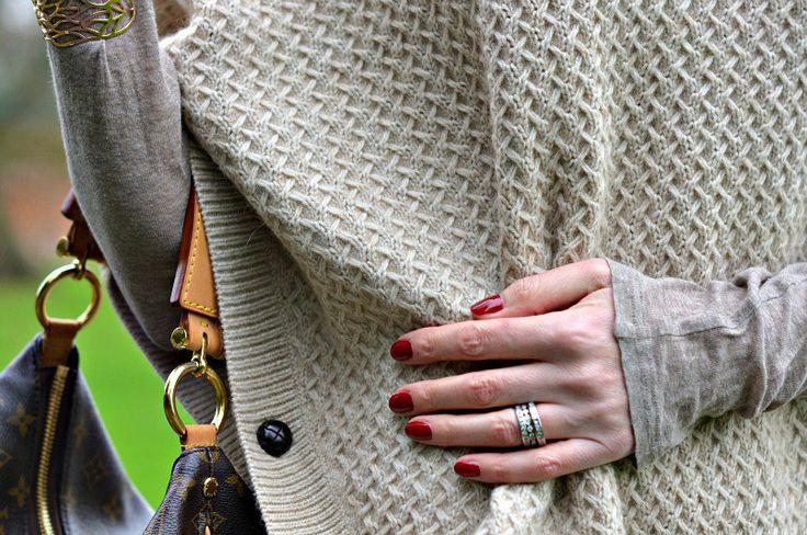 Laura Ashley beige poncho   Louis Vuitton Sully bag