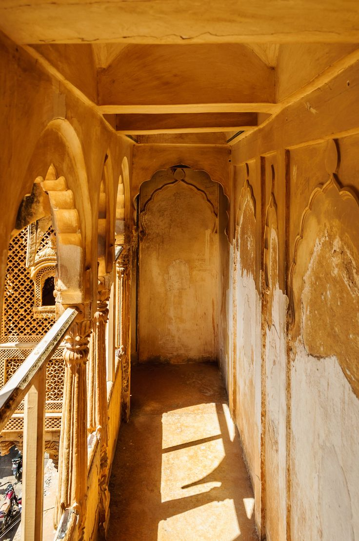 Corridor inside museum of Golden Fort of Jaisalmer, Rajasthan India with copy space