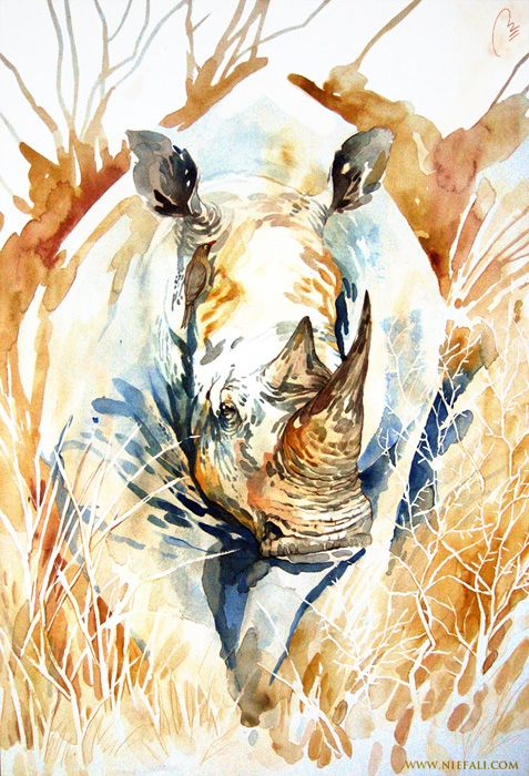 Rhino by  Markus Erdt, Muenster, Germany.   Educated Fachhochschule in Muenster for design and illusration.  Freelance Artist since 2010.   Media: watercolor, acrylics, pencil and digital art.