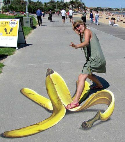 Ulla Taylor 3D banana peel pavement art