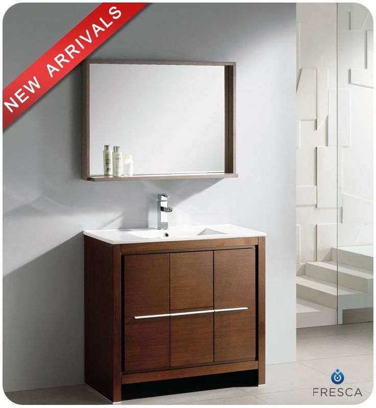 "Fresca FVN8136 35-3/8"" Wide Free Standing Vanity Set with Plywood Cabinet Ceram Wenge Brown Fixture Vanity Single"