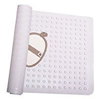 Non Slip Bath Mat Anti-Bacterial Deluxe Shower Mat 16 X 28 inches Fits Any Size Bath Tub White