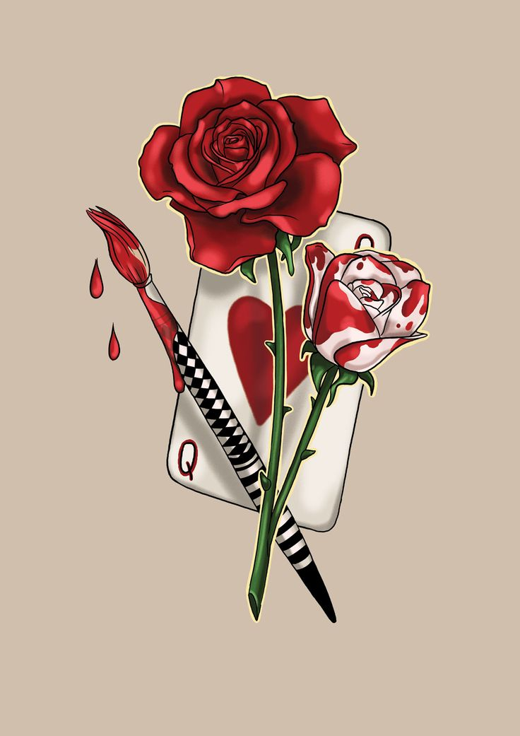 #aliceinwonderland #red #white #rose #drawing #art #tattoo #design