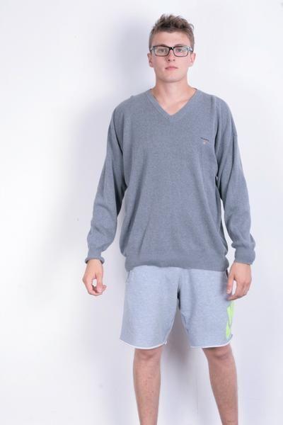 Gant Mens XL Jumper Sweater Grey V Neck Cotton Long Sleeve - RetrospectClothes